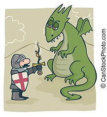 St George and the dragon - Cartoon image of a dragon melting...