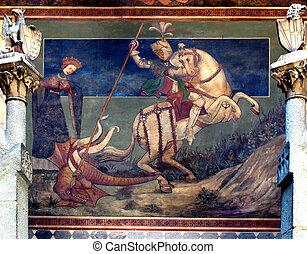 St George killing the drake - Ancient fresco of Saint George...