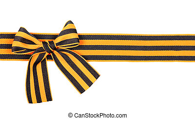 St. George ribbon as line with bow isolated on white...