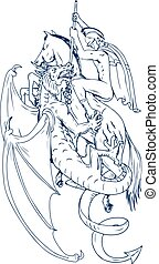 St. George Slay Dragon Drawing - Drawing sketch style...