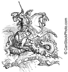 St George & The Dragon - An engraved illustration of St...