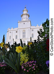 St George Utah LDS Mormon Temple in Early Morning