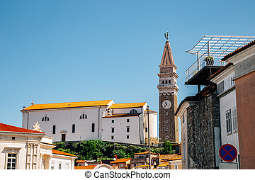 St. George's Parish Church on top of the hill in Piran, Slovenia