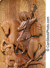 st george,wooden icon - woodenn icon
