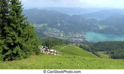 View of the village of St. Gilgen and the Wolfgansee lake.
