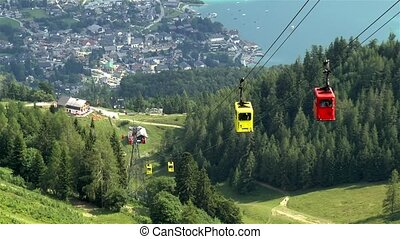 Cable cars in the village of St. Gilgen, Austria.
