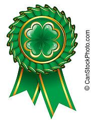 st., giorno, distintivo, trifoglio, patrick's, verde