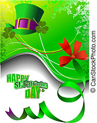 st., giorno, patrick's, vettore, verde, cappelli, shamrocks