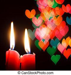 st, giorno valentine, cartolina auguri, con, candela, e, cuori