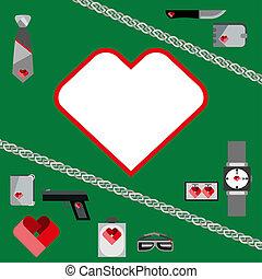 st., giorno valentines, simboli, mens, accessori, icone, set, appartamento, disegno