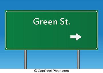 st, grün, zeichen