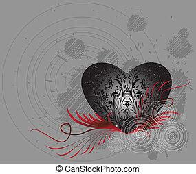 st., grunge, dzień, karta, valentine