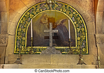 One of two altars in the 'Saint Helen' Chapel in the Church of the Holy Sepulchre; in the old city of Jerusalem, Israel. HDR. DEAR INSPECTOR: The artwork depicted here is hundreds of years of age. Therefore, there is NO compyright violation here. THANK YOU! Eldad Carin.