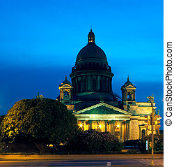 St. Isaac Cathedral at night,  Saint Petersburg, Russia