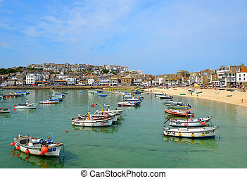 Harbour at St Ives - ST IVES, CORNWALL, UK - 18 July 2013 :...