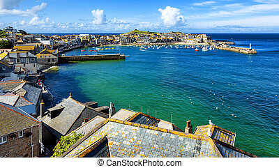 St Ives town, Cornwall, United Kingdom - St Ives, view over...