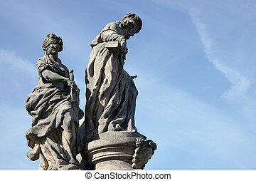 St Ivo statue on Charles Bridge in Prague