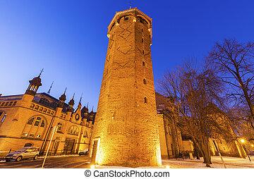 st, jacinto, torre, em, gdansk, à noite