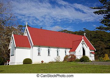 St James Anglican Church in the Kotorigo-Kerikeri Basin Heritage Area of North Island, New Zealand. It is the third church built in the area and was dedicated in 1878.