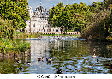 St. James's Park Lake with Horse Guard Parade building in background, London, United Kingd