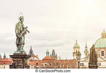 St. John Of Nepomuk Statue on Charles Bridge