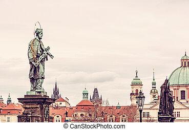 St. John Of Nepomuk Statue on Charles Bridge, Prague