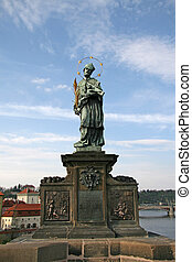 St. John of Nepomuk Statue on Prague Charles Bridge, Czech republic