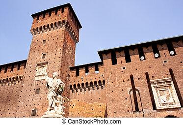 St. John of Nepomuk under the Sforzesco castle in Milan, Italy