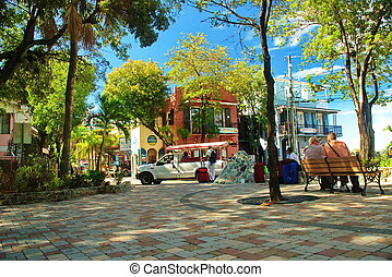 St. John Plaza, USVI - This beautiful palm tree shaded plaza...