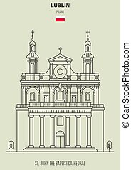 St. John the Baptist Cathedral in Lublin, Poland. Landmark icon in linear style