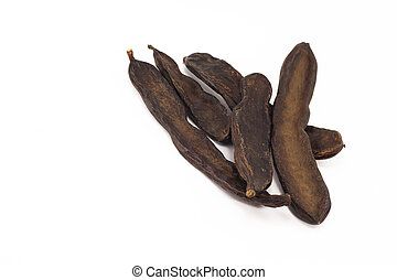 St. john's bread, carob pods isolated on white background