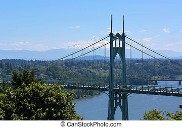 St Johns Bridge and Mount Hood