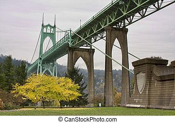 St. John's Bridge in Portland Oregon, USA.