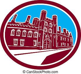 St John's College Cambridge Building Retro - Illustration of...