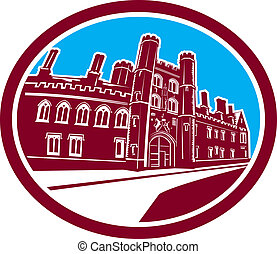 Illustration of the St. John's College building of the university of Cambridge in Cambridge set inside oval done in retro woodcut style.
