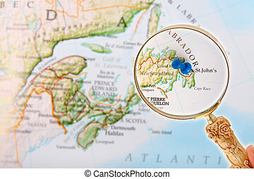 St. John's, Newfoundland through a loop - Blue tack on map...