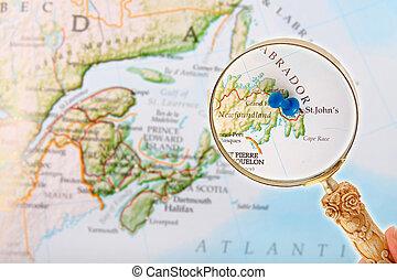 St. John's, Newfoundland through a loop - Blue tack on map...