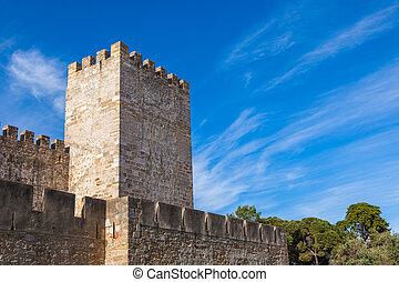 St Jorge castle detail in Lisbon, Portugal