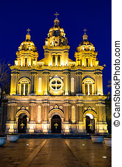 St. Joseph Cathedral at night time, Beijing, China.