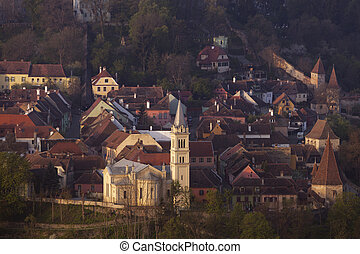 St Joseph Cathedral in Sighisoara. Sighisoara, Mures County,...