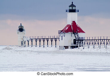 St. Joseph North Pier Lighthouse in Winter - Lake Michigan...