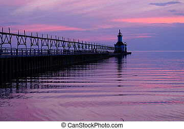 St. Joseph North Pier Lights, built in 1906-1907, Lake...