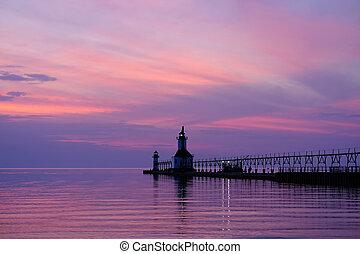 St. Joseph North Pier Lights, built in 1906-1907, Lake...