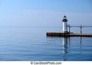 St. Joseph North Pier Outer Light, built in 1906, Lake...