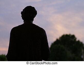 St. Joseph Statue - St. Joseph statue at dusk silhouette