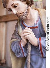 St. Joseph statue - St. Joseph wooden statue in a...