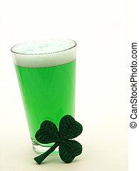 st, kleeblatt, patricks, bier, grün, tag