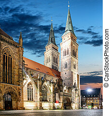 St. Lawrence church at night in Nuremberg, Germany