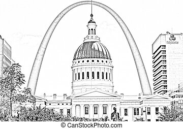 st. louis arch sketch - this is a photo turned into a sketch...