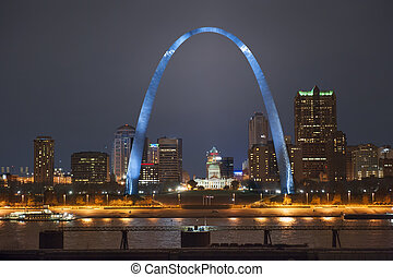 St. Louis Arch - Night shot of downtown St. Louis riverfront...